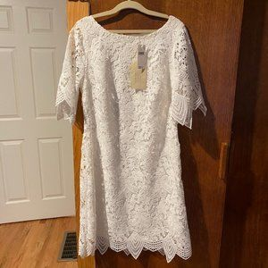 White Lace Anthropologie Dress Size 4